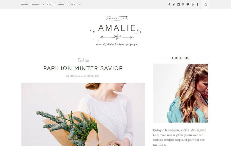 Amalie Best Free Responsive Blogger Template