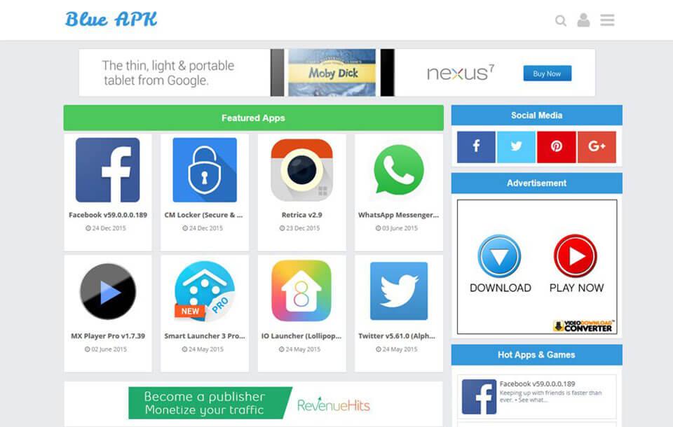 Blue APK Responsive Blogger Template