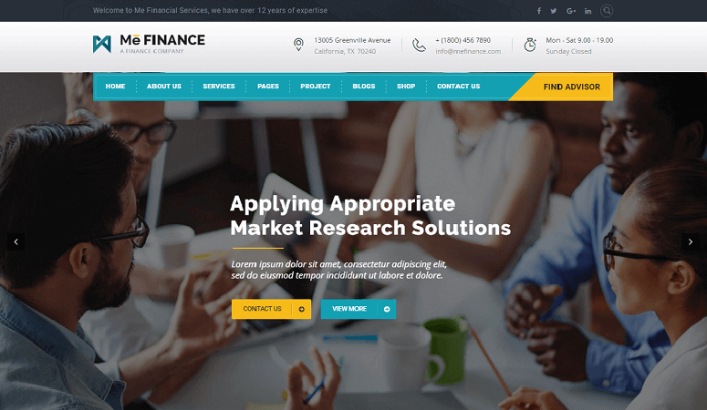 Me Finance Insurance WordPress Theme