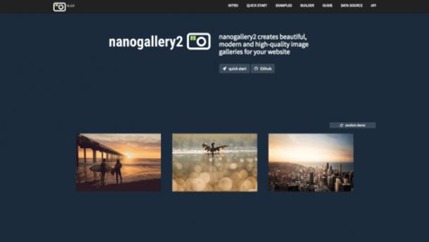 Nanogallery2 menu jQuery Plugin