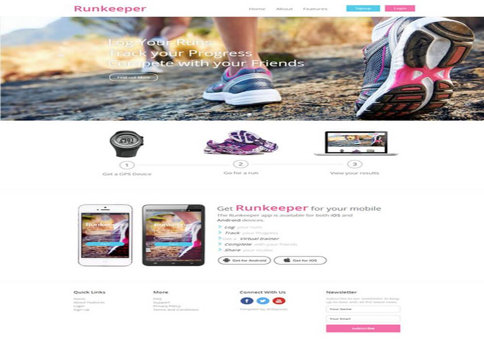 Runkeeper Responsive HTML5 CSS3