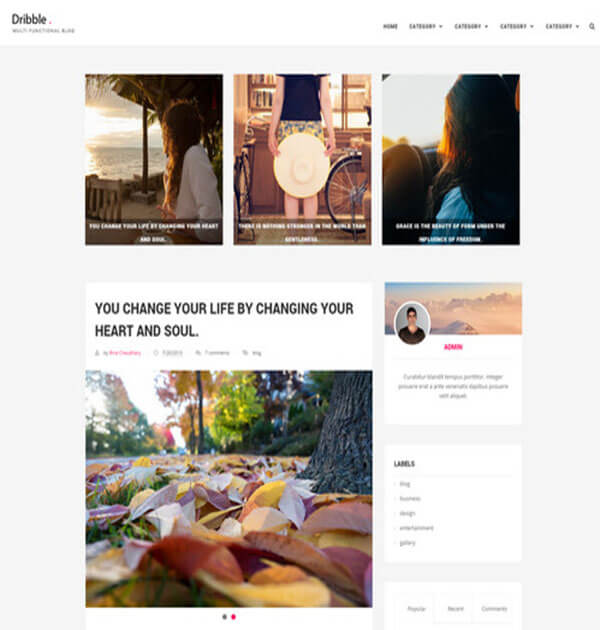 dribble Free Responsive Blogger Template