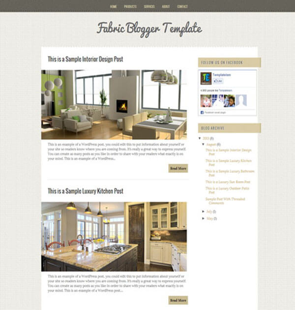 fabric Free Responsive Blogger Template