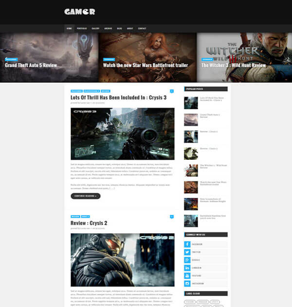 gamer Best Free Responsive Blogger Template