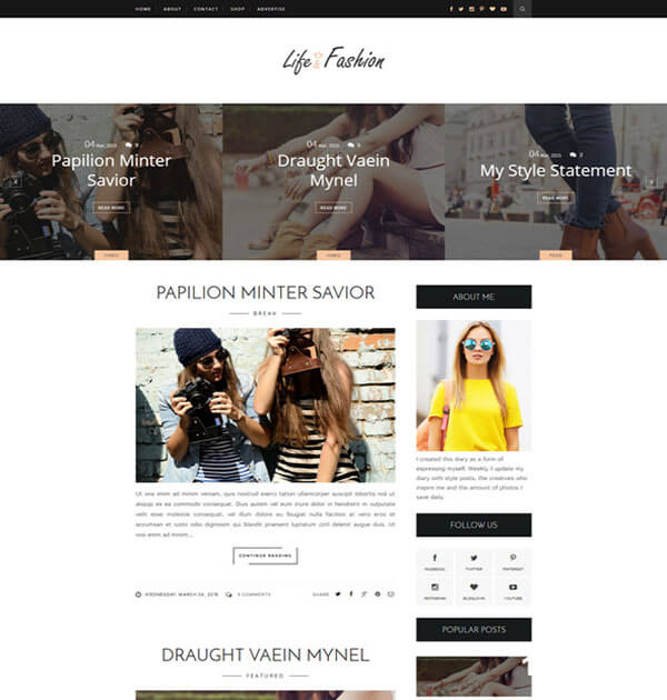 life Free Responsive Blogger Template