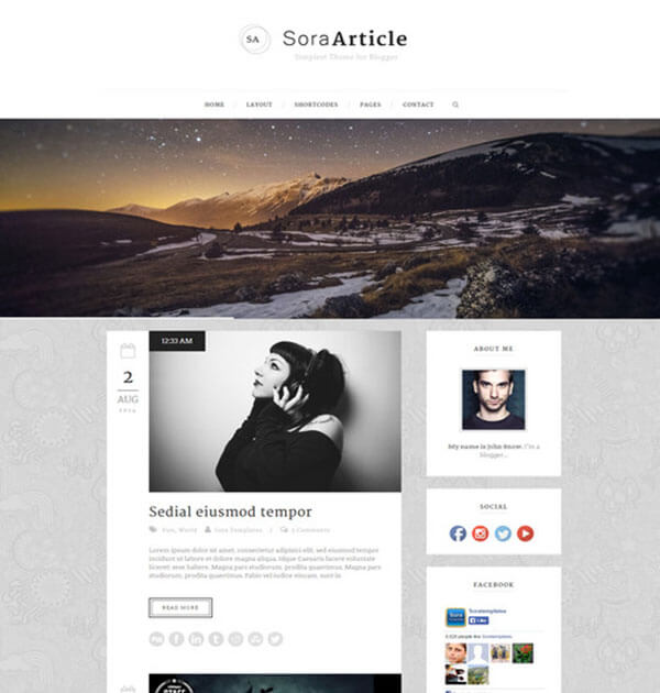 sora Free Responsive Blogger Template