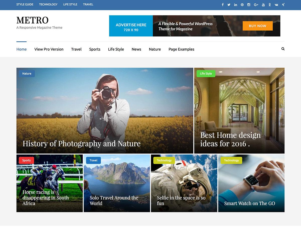 metro responsive magazine wordpress theme