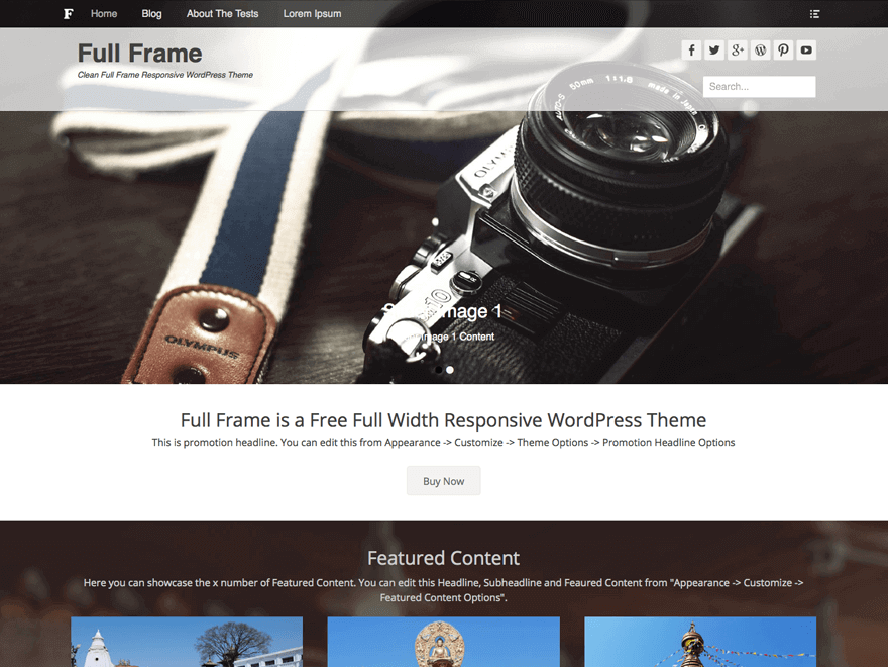 Full Frame theme Photography WordPress Themes 1