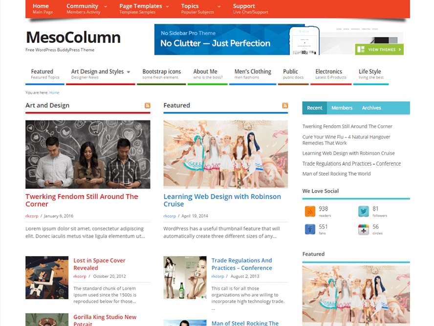 Mesocoloumn Best Responsive Magazine WordPress Theme