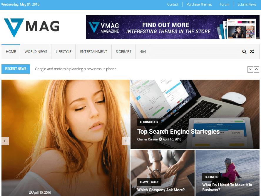 VMag wordpress theme Magazine WordPress Themes 2018