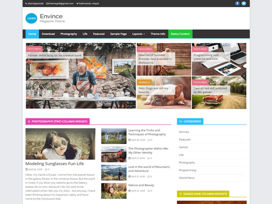envince magazine theme Responsive Magazine WordPress