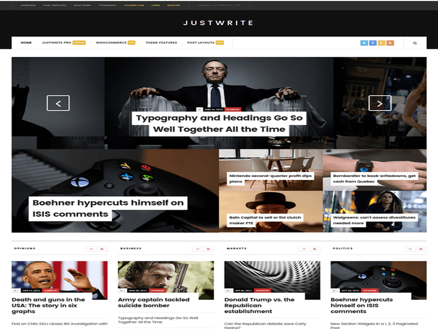 justwrite theme Responsive Magazine WordPress