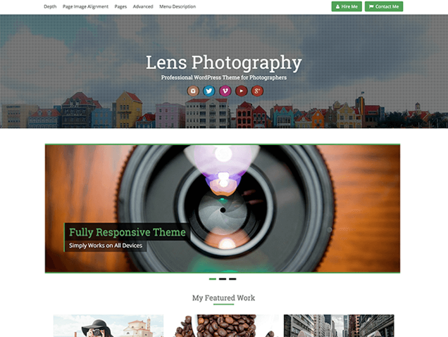 lens theme Photography WordPress Themes 1