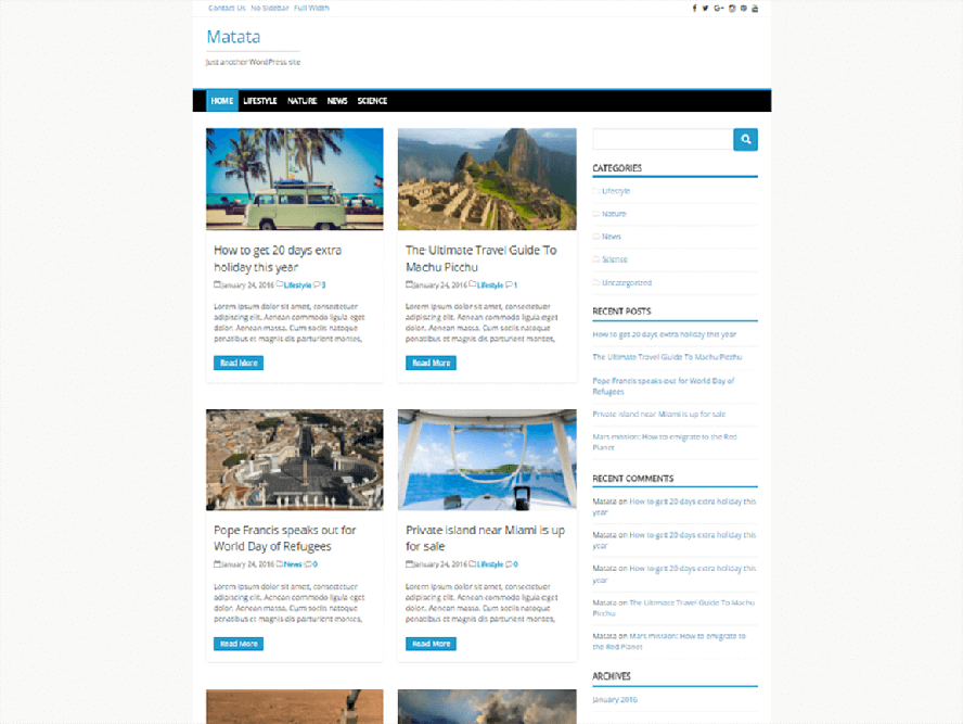 matata Best Responsive Magazine WordPress Theme