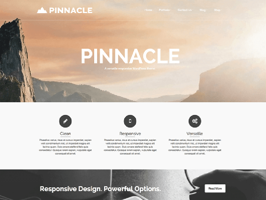 pinnacle Free Photography WordPress Themes 2018 1