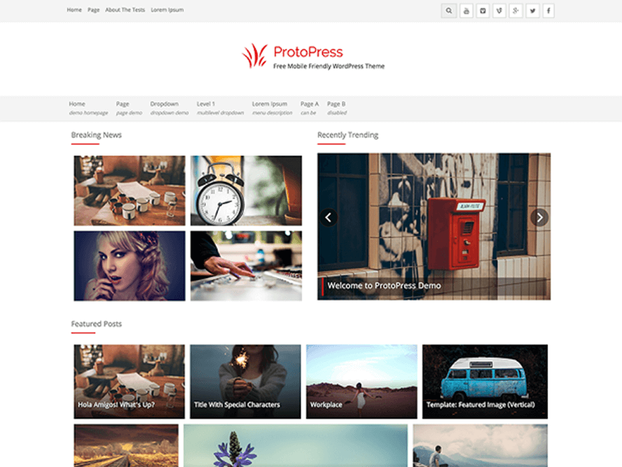 protopress Free Photography WordPress Themes 2018