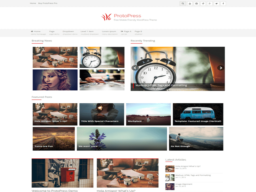 protopress news website theme Magazine WordPress Themes 2018