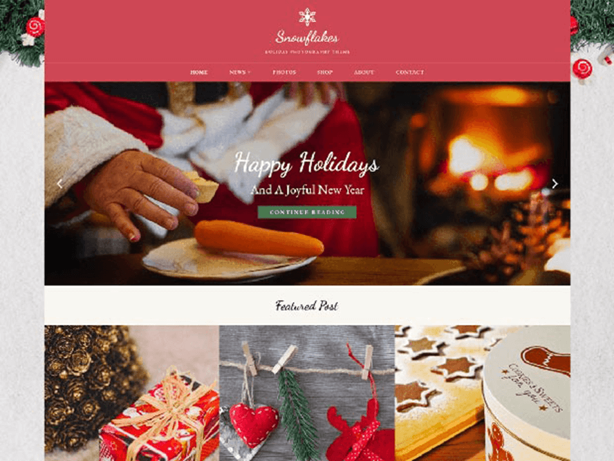 snowflakes ptheme Free Photography WordPress Themes 2018