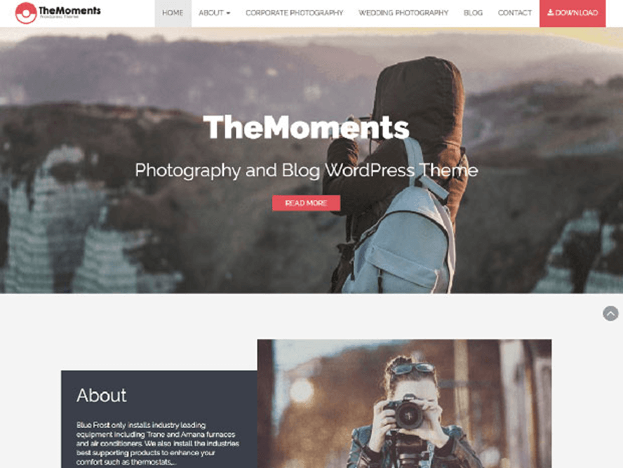 the moments ptheme Free Photography WordPress Themes 2018