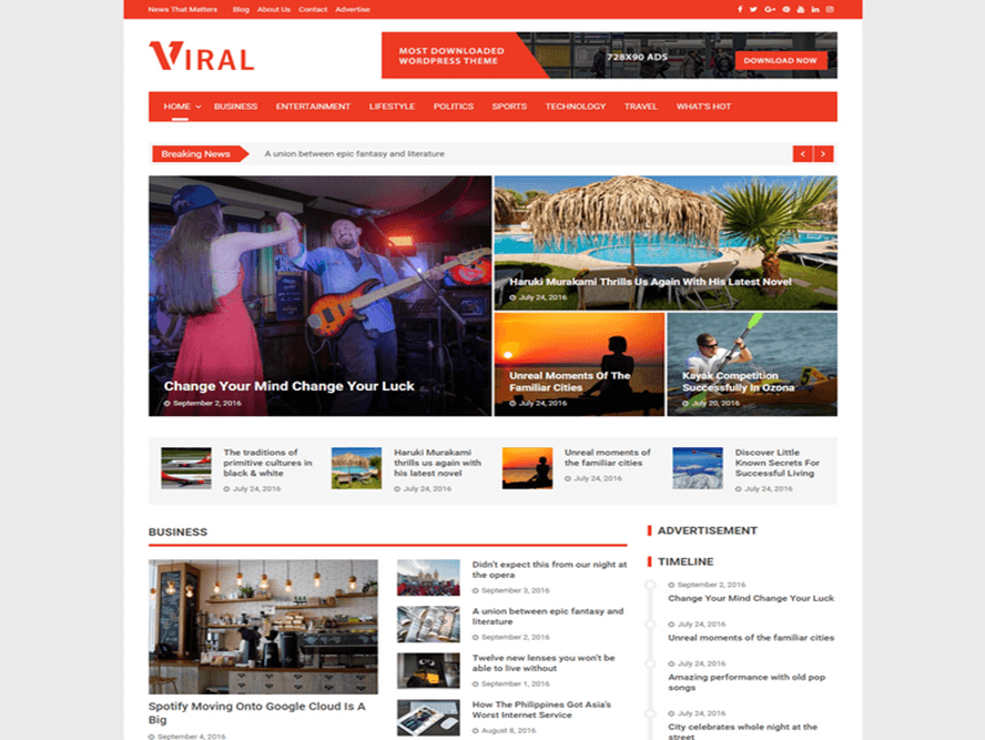 viral wp theme Magazine WordPress Themes 2018