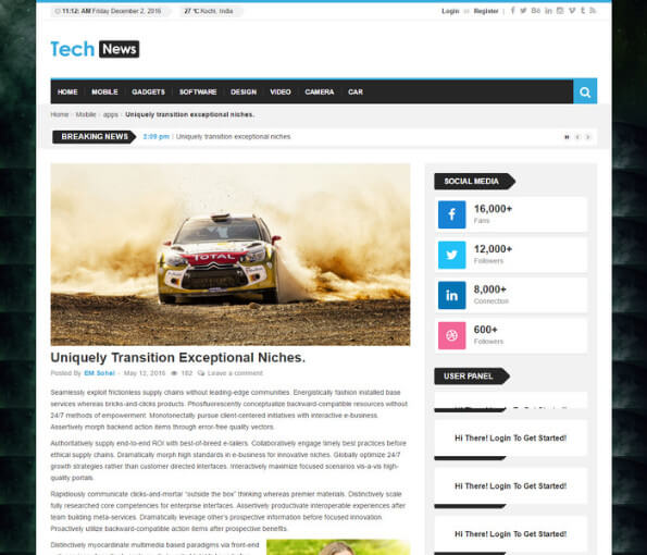 free responsive news website templates 2